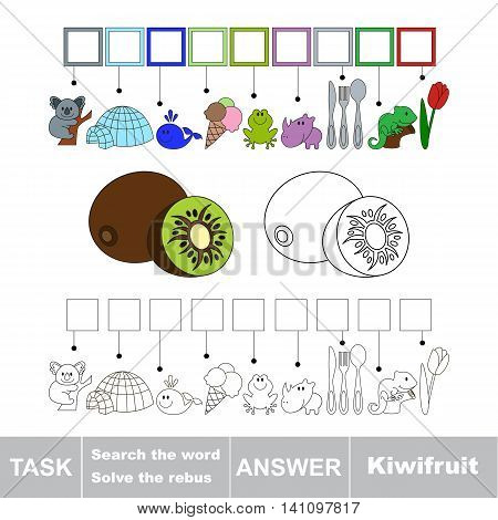 Vector rebus game for children. Easy educational kid game. Simple game level. Find solution and write the hidden word Kiwifruit