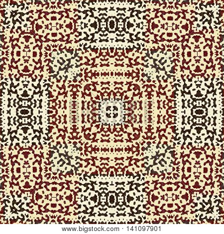 Seamless warm brown  and ornamental  boho pattern