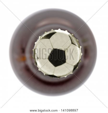 Bottle of beer with football ball symbol on cap, isolated on white, top view