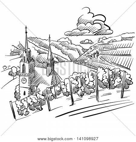 German Vineyard Sketch with Church River and Hills Hand drawn Vector Artwork