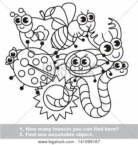 The mishmash of funny insects. The colorless outlined set in vector. Find all hidden objects on the picture. Easy educational kid game. Simple level of difficulty. Visual game for children.