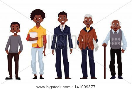 Set of black men of different ages from adolescence youth to maturity and old age, illustration isolated on white background. Various generations at African American man