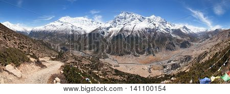 Panoramic view of Manang valley Bhraka village Annapurna 2 II Annapurna 3 III Ganggapurna and Khangsar Kang Annapurna range from Ice Lake way to Thorung La pass Annapurna circuit trek NepalNepal