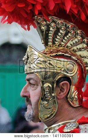 MOSTA, MALTA - APR 22 : Roman centurion during in the Good Friday procession in the village of Mosta in Malta April 22, 2011