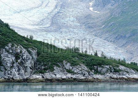 A glacier as seen from the water in Glacier Bay Alaska