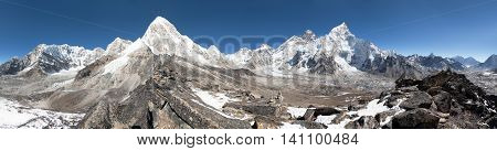 Panoramic view of Mount Everest Lhotse Nuptse Pumo Ri and Kala Patthar- way to Everest base camp - Nepal