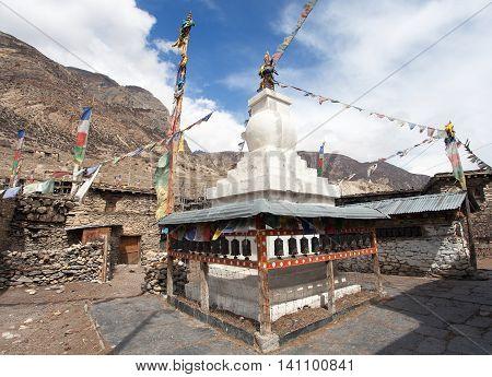 Stupa in Manang villlage round Annapurna circuit trekking trail Nepal