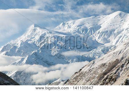 View of Annapurna 3 III Annapurna range way to Thorung La pass Nepal