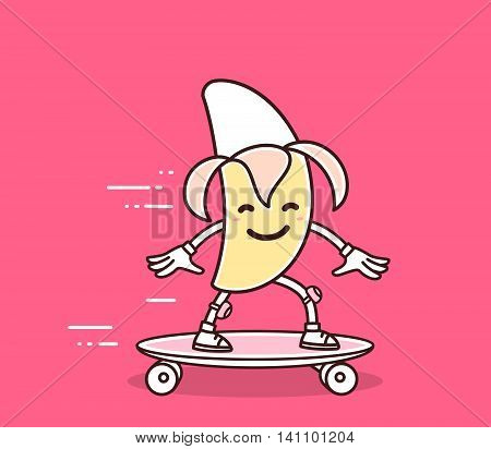 Vector illustration of yellow color smile banana riding skateboard on bright pink background. Skateboarding cartoon banana concept. Doodle style. Thin line art flat design of character banana for sport skateboard theme