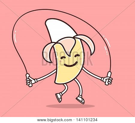 Vector illustration of yellow color smile banana with skipping rope on pink background. Fitness cartoon banana concept. Doodle style. Thin line art flat design of character banana for sport lose weight fitness theme