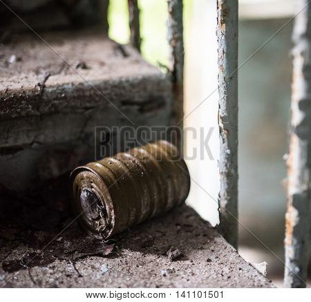 filter masks on the floor in Pripyat, Chernobyl, Ukraine