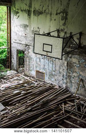 gym in abandoned Pripyat school, Chernobyl, Ukraine