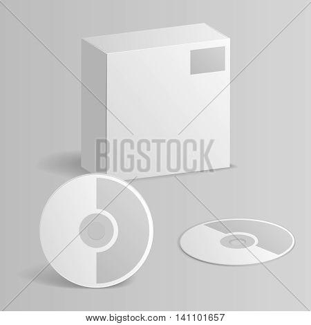 Computer CD Disc Paper Box mockup template vector illustration