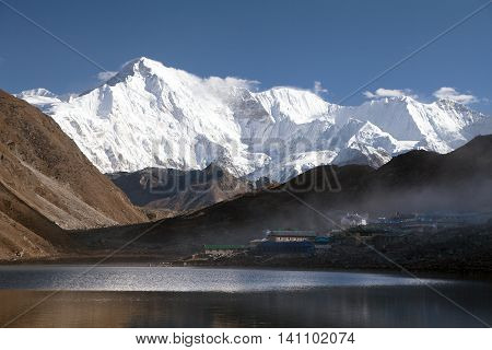 View of mount Cho Oyu mirroring in Gokyo lake or Dudh Pokhari three passes trek and Cho Oyu base camp trek Sagarmatha national park Khumbu valley Nepal