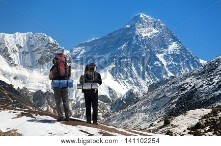 view of Mount Everest with tourist on the way to base camp Sagarmatha national park Khumbu valley - Nepal