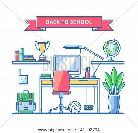 Back to school concept. Teenagers workspace with desk pc lamp books globe cup backpack etc. Child room interior. Trendy vector thin line illustration. Flat style