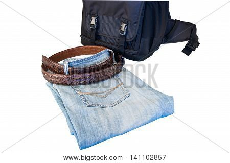 Menswear jeans belt bag isolated on white background.