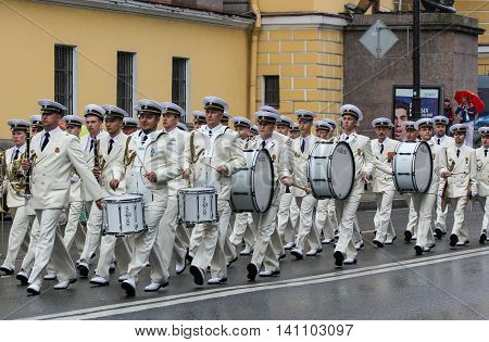 St. Petersburg, Russia - 31 July, Marine military band on the march, 31 July, 2016. Military sailors on parade in honor of the Navy.
