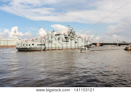 St. Petersburg, Russia - 31 July, Warship taking part in the parade, 31 July, 2016. Festive parade of warships on the Neva River in St. Petersburg.