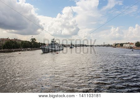 St. Petersburg, Russia - 31 July, Warships built in a line on the river Neva, 31 July, 2016. Festive parade of warships on the Neva River in St. Petersburg.