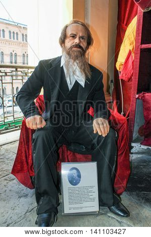 St. Petersburg, Russia - 9 April, The figure of the writer Dostoyevsky, 9 April, 2016. Wax Museum Gallery large Gostiny Dvor.
