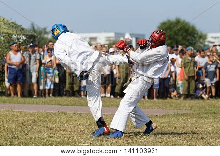 Ulyanovsk Russia - July 31 2016: Airborne soldiers demonstrate mastery of martial arts during the celebration of the Airborne Forces.