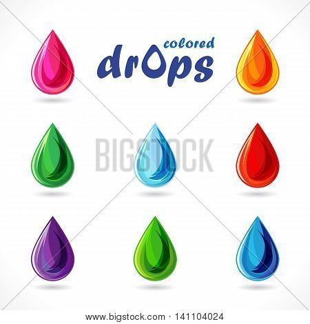 Set of drops. Abstract vector colored signs.