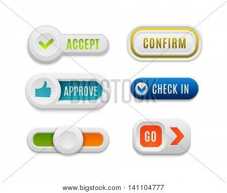 Ok button vector set.