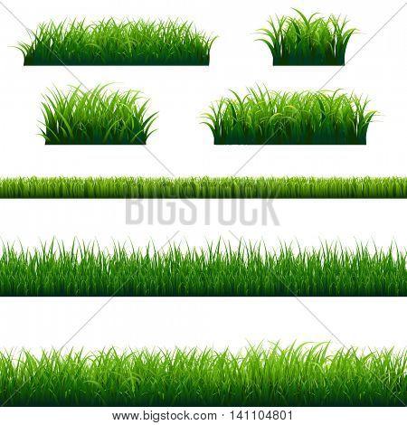 Green Grass Frame Big Set, Vector Illustration