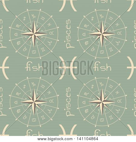 Astrology sign Fish. Seamless background. Vector illustration