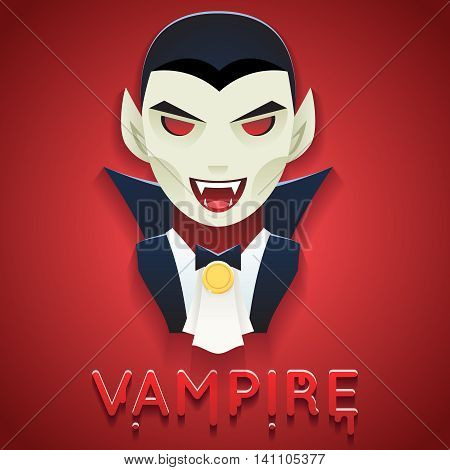 Vampire Avatar Role Character Bust Icon Halloween Party Stylish Background Greeting Template Vector Illustration