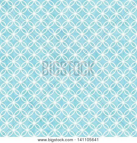 Blue and White Circles Tile Pattern Repeat Background that is seamless and repeats, 3D Illustration