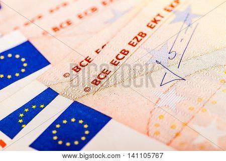 Detail Of Euro Banknotes