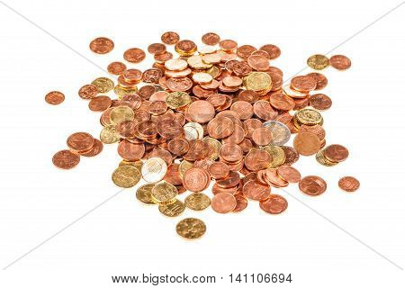Lot Of Euro Cents Isolated