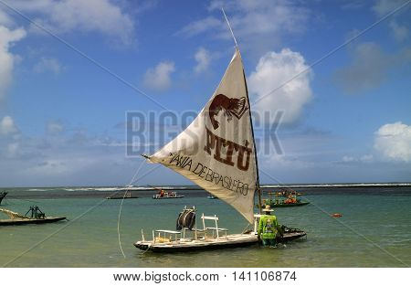 Beach With Typical Sail Boats Of Northeast Brazil