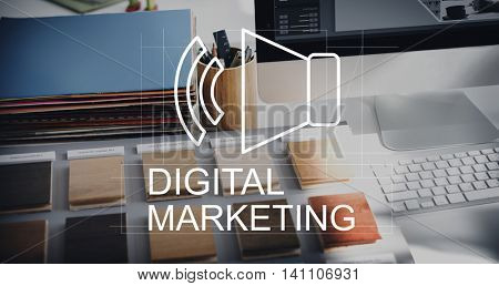 Business Digital Marketing Speakers Symbol Concept