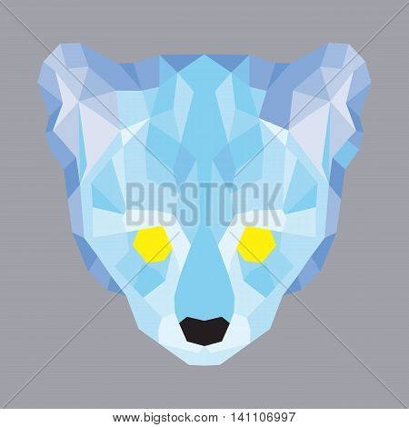 Blue low poly ocelot. Geometric simple art