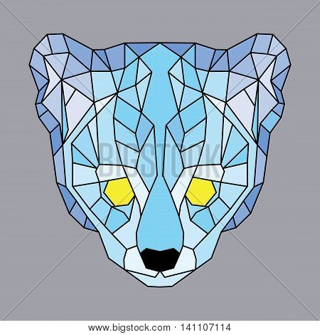 Blue lined low poly ocelot. Geometric simple art