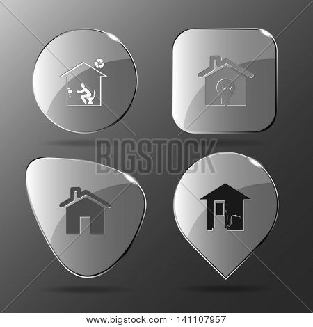 4 images: toilet, light in home, car fueling. Home set. Glass buttons. Vector illustration icon.