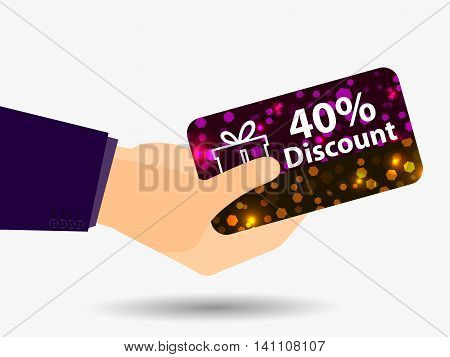 Coupon For A 40-percent Discount In The Hand. Gift Card With Bright Sparks. Vector Illustration.