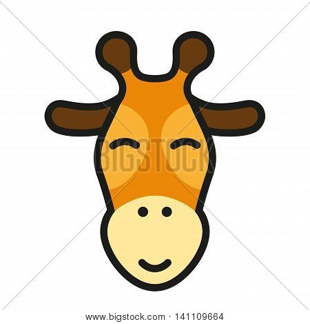 Cute giraffe head iconor logo. Vector cartoon illustration