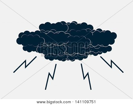 Clouds with lightning thunderstorm. Icons. Vector illustration.