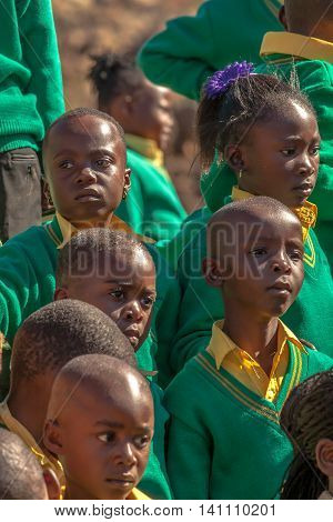 Blyde River Canyon Nature Reserve, South Africa - August 22, 2014: South African children posing in school uniform.