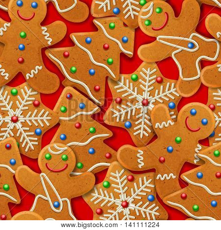 Vector - Seamless vector background with gingerbread