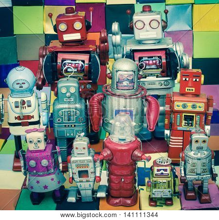 Happy robots having fun together