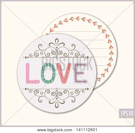 Love wedding favor sticker. Ornate romantic vector card.