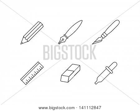 Designer tools. Linear vector icons of drawing and painting software tools