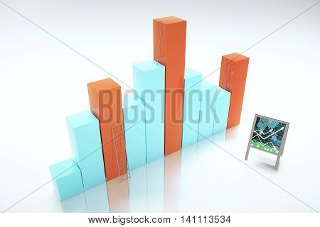 Success concept with abstract business chart bars ladders and flipboard with positive forex graph. 3D Rendering