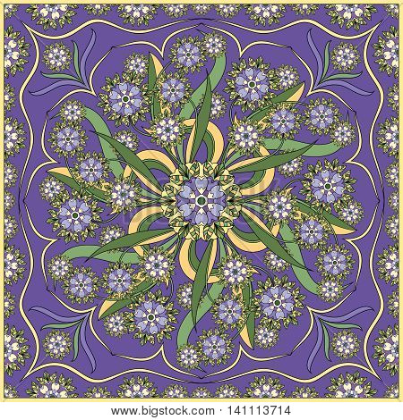 Detailed floral pattern for scarf, shawl, carpet or embroidery. Lilac background. Vector illustration.