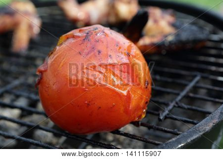 Frying tomatoes on the grill on picnic